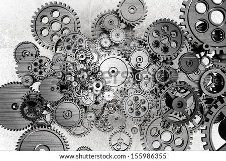 Grunge Gears Background. Black and White Dirty Grunge Mechanical Background. - stock photo