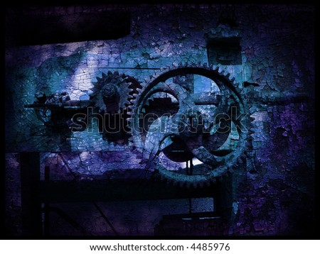 Grunge gears 5, grainy vintage background