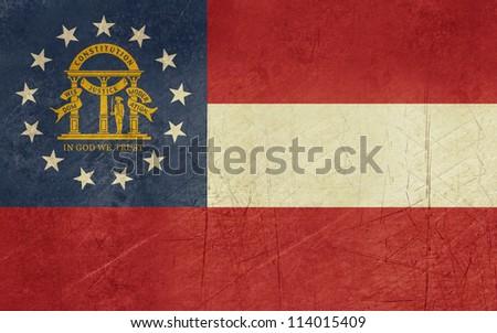 Grunge Georgia state flag of America, isolated on white background. - stock photo