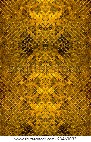 grunge gold abstract background from tile mosaic - stock photo
