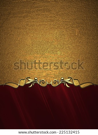 Grunge gold background with red bottom. Design template. Design site - stock photo