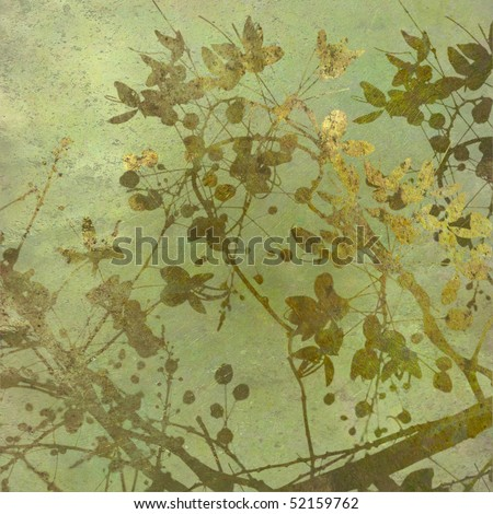 Grunge Gold Blossom Textured Art background - stock photo