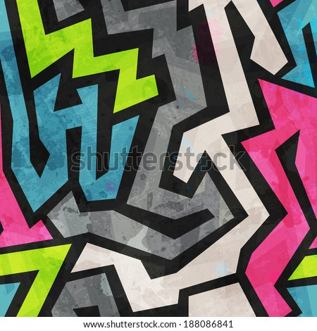 grunge graffiti seamless pattern (raster version) - stock photo