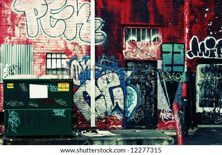 Grunge graffiti urban decay  - Acidic tones - stock photo