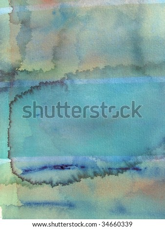 grunge green abstract watercolor background - stock photo