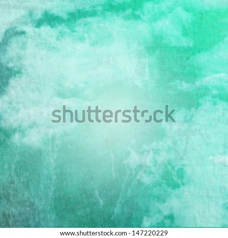 Grunge Green and Turquoise Cloudy Sky background - stock photo