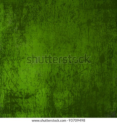Grunge green background with ancient ornament - stock photo