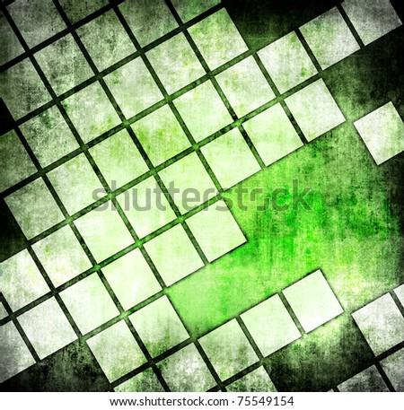 Grunge green mosaic - stock photo