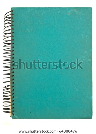 Grunge green spiral notebook isolated on white - stock photo