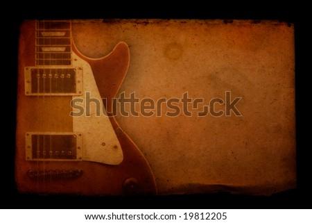 Grunge Guitar Paper - stock photo