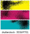 grunge halftone banners, raster version - stock vector