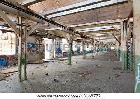 grunge hall interior - stock photo