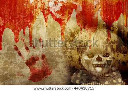 Grunge Halloween background with old stucco wall texture, blood and spooky clown