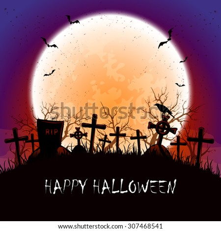 Grunge Halloween background with orange Moon,  bats and crow at the cemetery, illustration. - stock photo