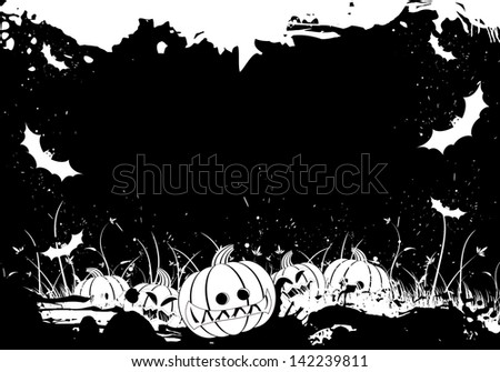 Grunge Halloween border with grass pumpkin and bat