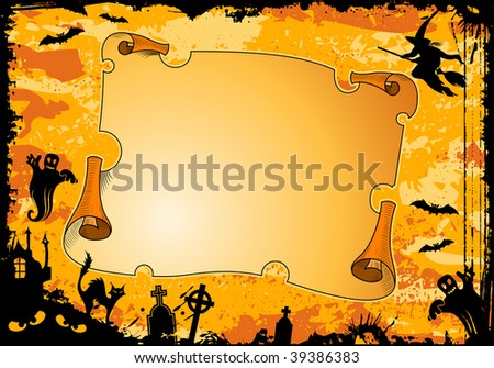 Grunge Halloween frame with roll, bat, witch, ghost, element for design, illustration - stock photo
