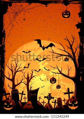 Grunge Halloween night background, illustration - stock photo