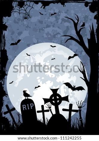 Grunge Halloween night background, illustration - stock photo