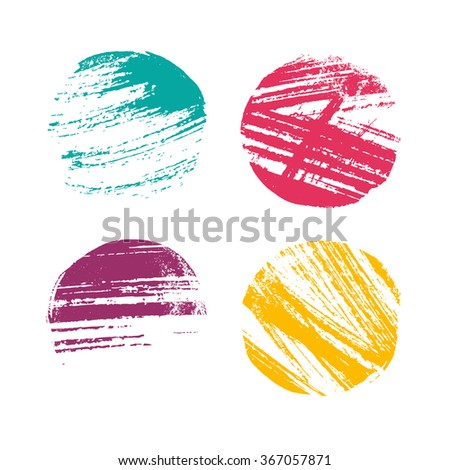 Grunge hand drawn color circles for design