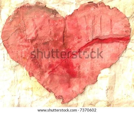 Grunge heart - stock photo