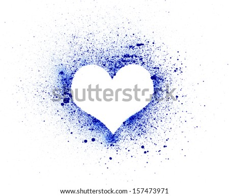 Grunge heart, ink splatter.made myself - stock photo