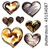 Grunge Heart Set - stock photo