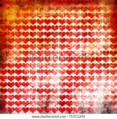 Grunge hearts poster - stock photo