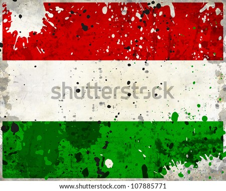 Grunge Hungary flag with stains - flag series - stock photo
