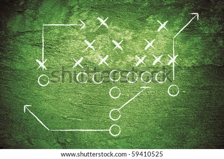 Grunge illustration of american football play with x's and o's. - stock photo