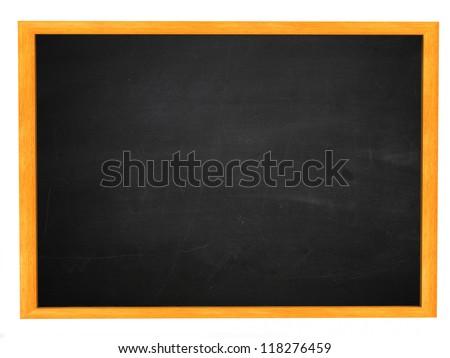 Grunge illustration of dirty chalkboard, blackboard texture in wooden frame. - stock photo