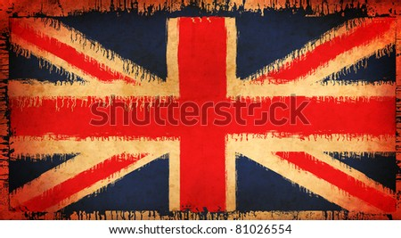 grunge illustration of flag of The United Kingdom of Great Britain and Northern Ireland - stock photo