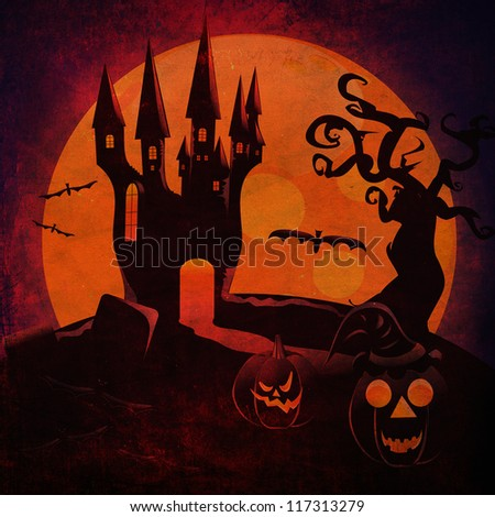 Grunge illustration of halloween castle silhouettes with pumpkins background.