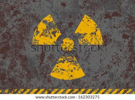 Grunge illustration of radiation sign on textured background  - stock photo