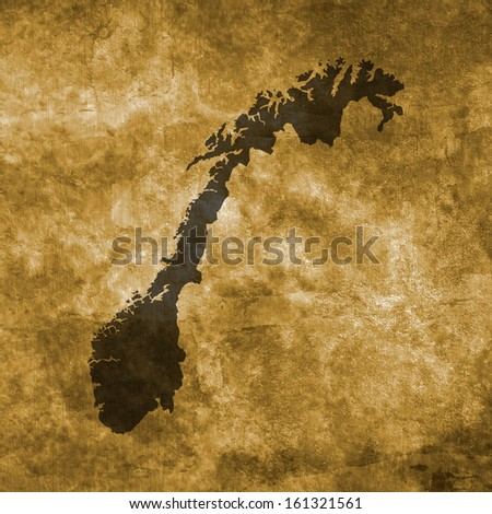 Grunge illustration with the map of Norway - stock photo