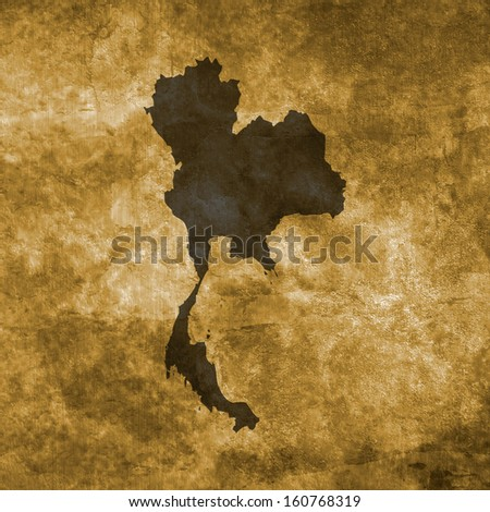Grunge illustration with the map of Thailand - stock photo