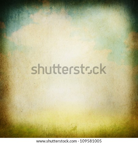 Grunge image of a field and sky with clouds - stock photo