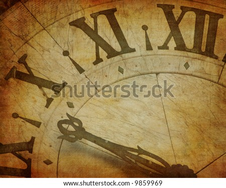 grunge image of ancient clock - stock photo