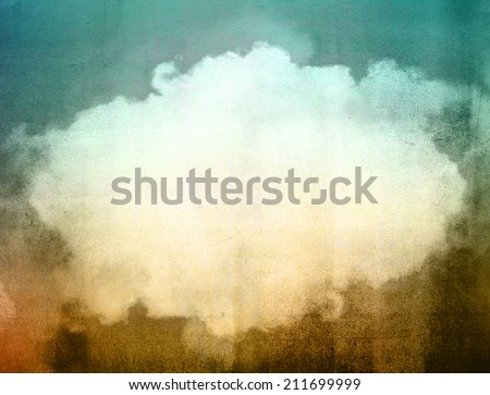 Grunge image of blue sky filtered image. Vintage background.