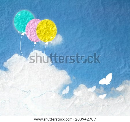 Grunge image of blue sky with clouds and colorful.Color balloons banner background.  - stock photo