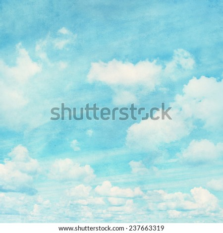 Grunge image of blue sky with white clouds. - stock photo