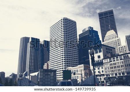 grunge image of Boston Downtown skyline - stock photo