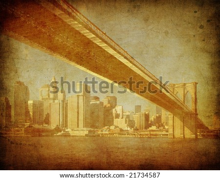grunge image of brooklyn bridge, new york, usa - stock photo