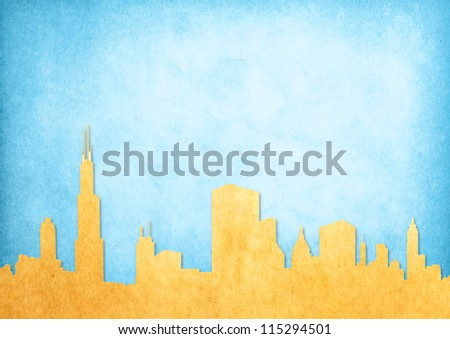 Grunge image of cityscape from old paper - stock photo