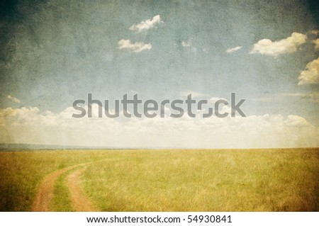 grunge image of countryside road - stock photo