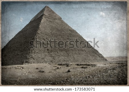 grunge image of Desert and pyramid, Old Postcard style, - stock photo