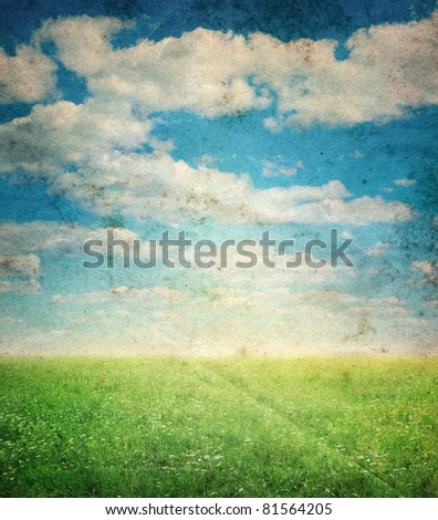 grunge image of landscape - stock photo