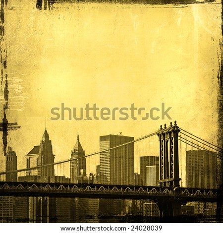 grunge image of manhattan bridge and new york skyline - stock photo