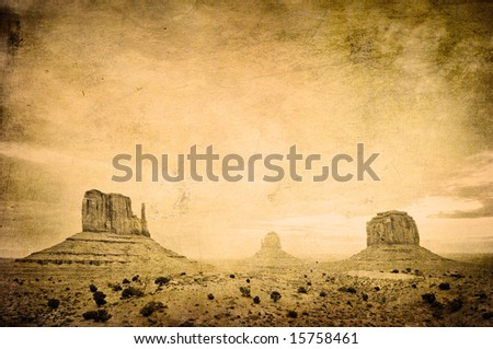 Grunge image of Monument Valley landscape - stock photo
