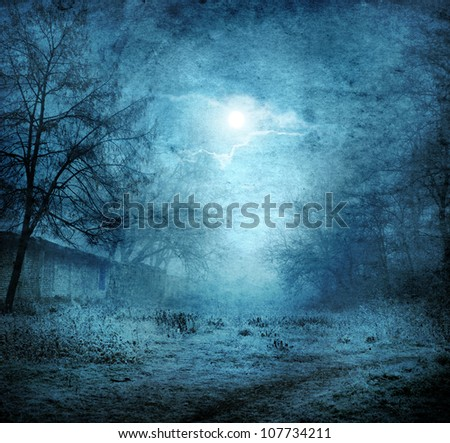 grunge image of moon landscape - stock photo