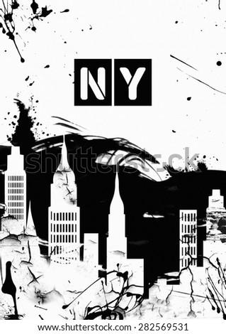 grunge image of new york. Black and White - stock photo